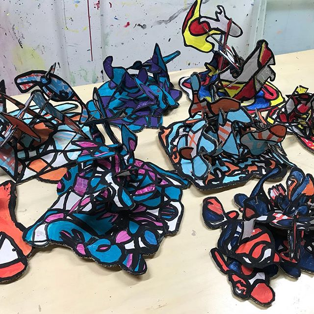 Here's another exciting project we did last month and the kids had so much fun creating them.  Check out some of these amazing #jeandubuffet inspired sculptures!