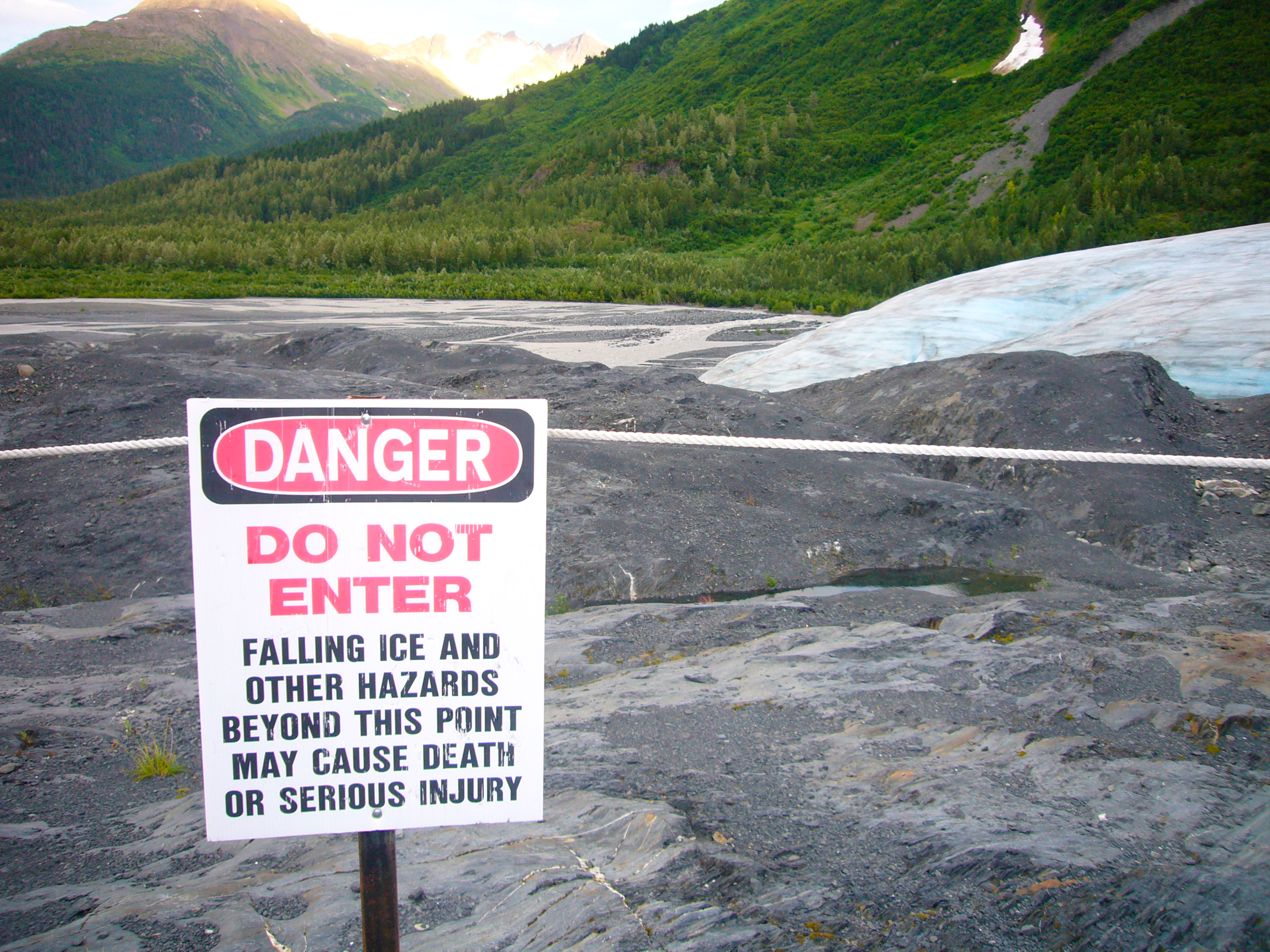 Exit Glacier, 2007 - from a viewing station which was made obsolete by the glacier retreating, which it does at around  13 meters a year .