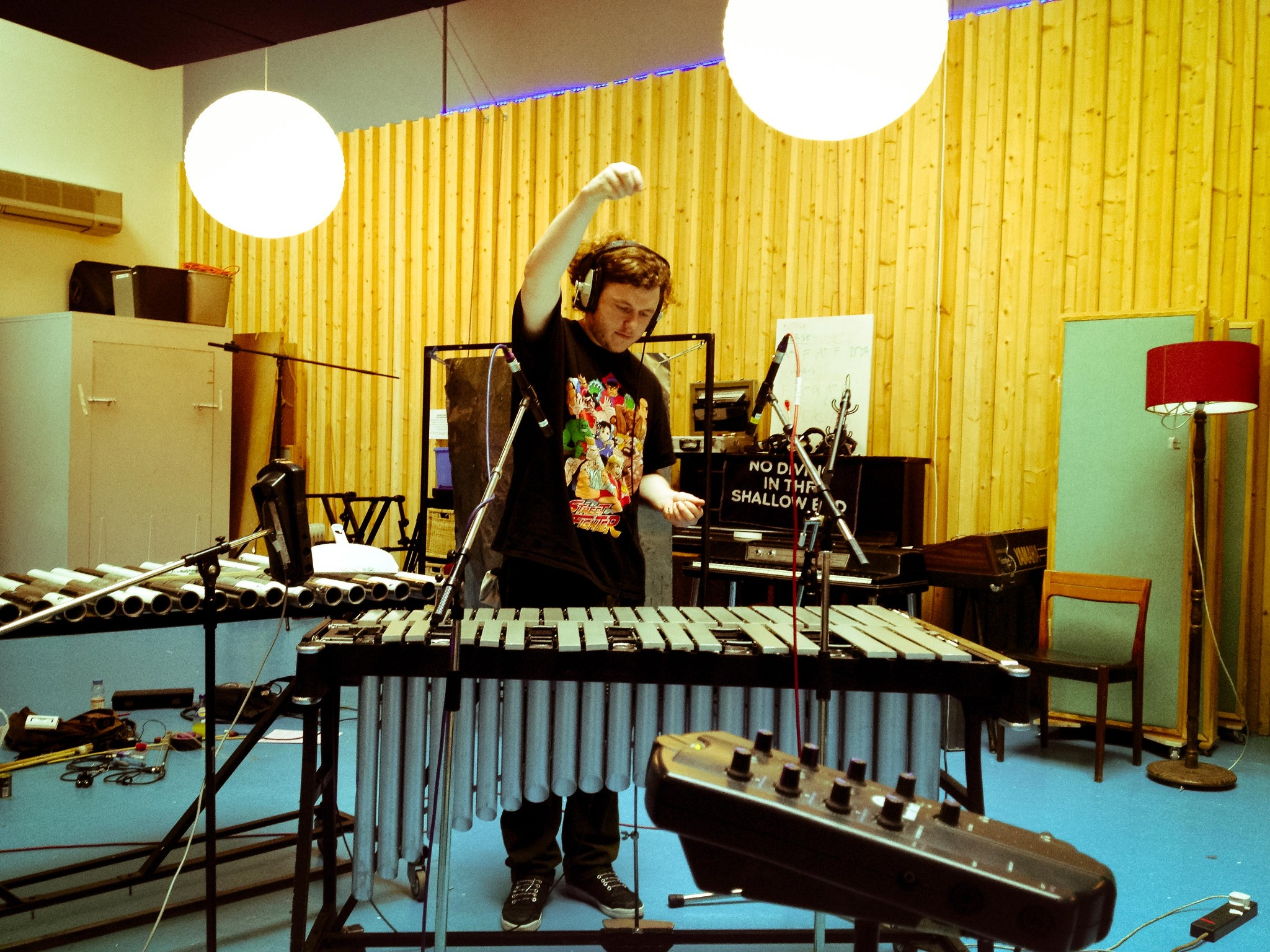 Vibraphone recording. 2 x DPA 4015As. Using a variety of different tools: thick chains, nails (dropping them), brushes, gaffer tape (peeling), bowing and playing(!). [Matt dropping things on the vibraphone]