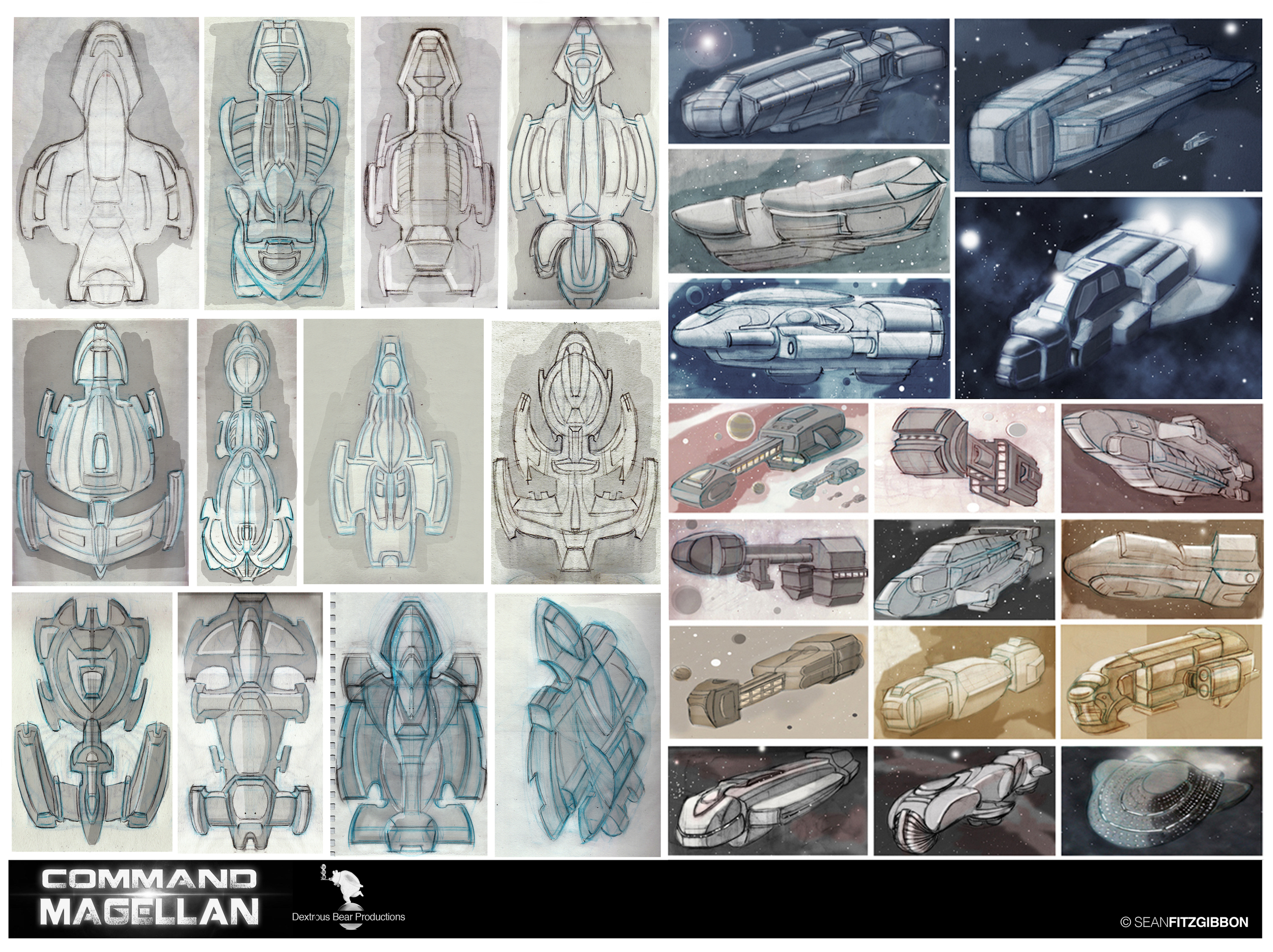 Some of my early concept renderings of the  Magellan  along with a shuttle design.