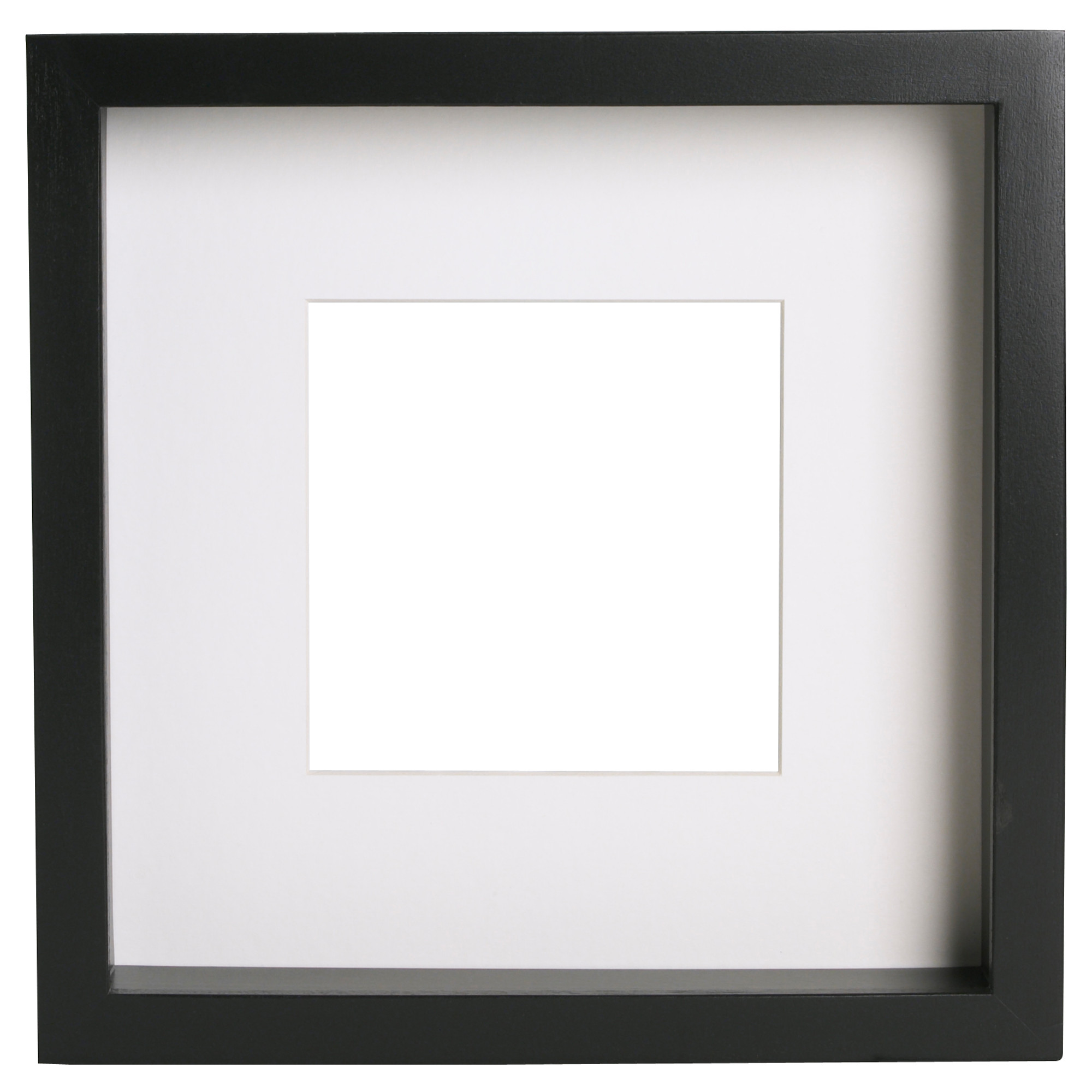 Ikea Ribba Frames that can be used as shadow boxes come in Black or White.