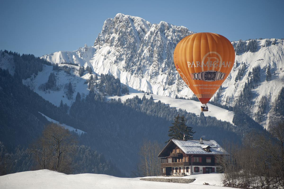 Floating over a small Swiss house