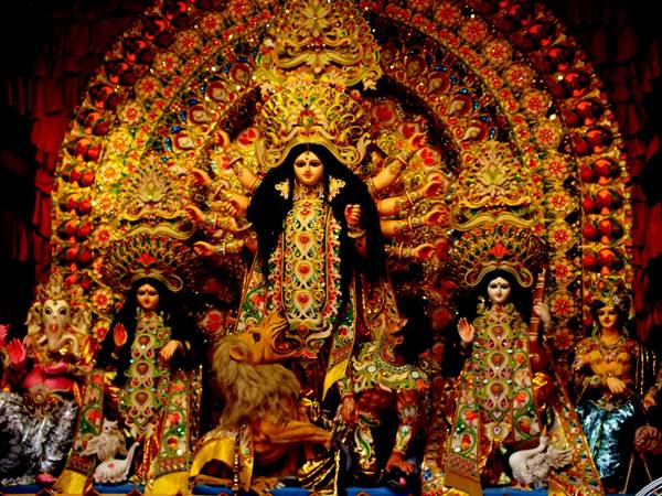 Beautiful idol of Goddess Durga in a pandal