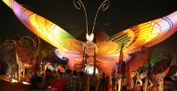 Lighting at one of the pandals