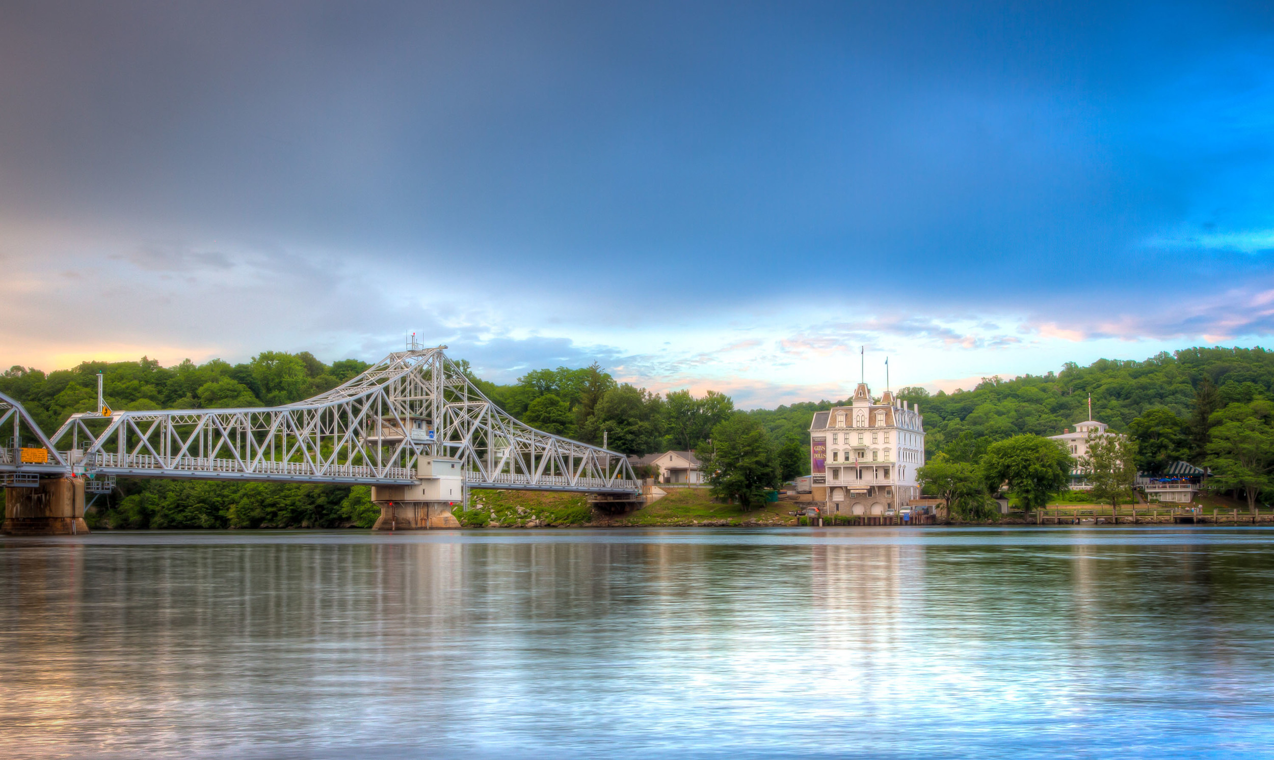 Looking across at the Haddam bridge and Goodspeed Opera House