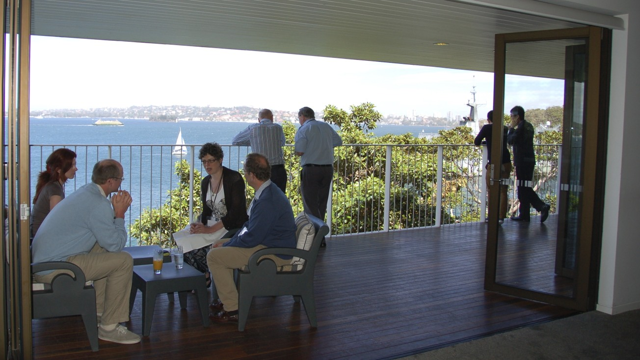 Morning tea at Sergeant's Messprovides expansive views of Sydney Harbor.