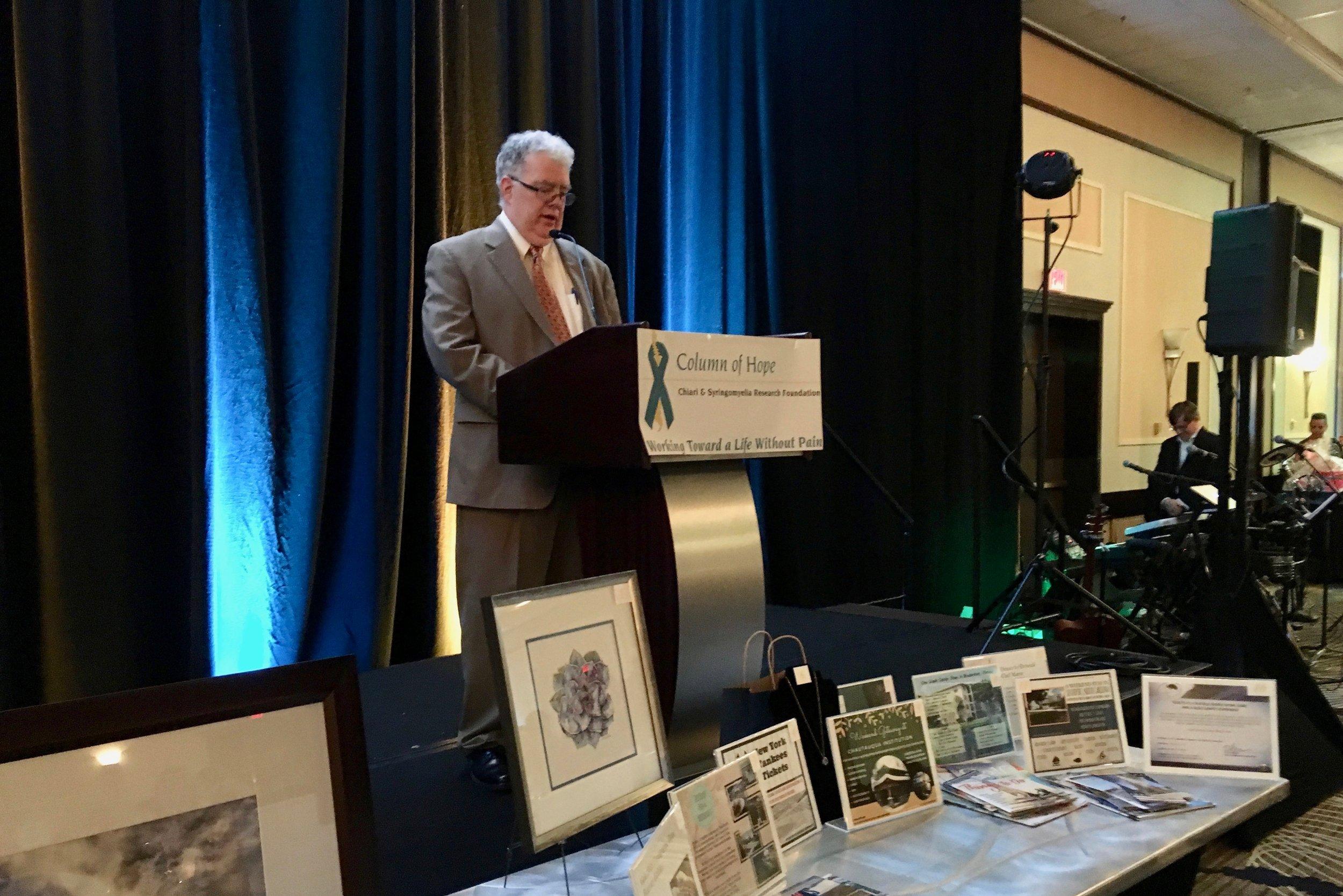 Column of Hope President Mark Kane addresses audience at Column of Hope 2015 Gala.