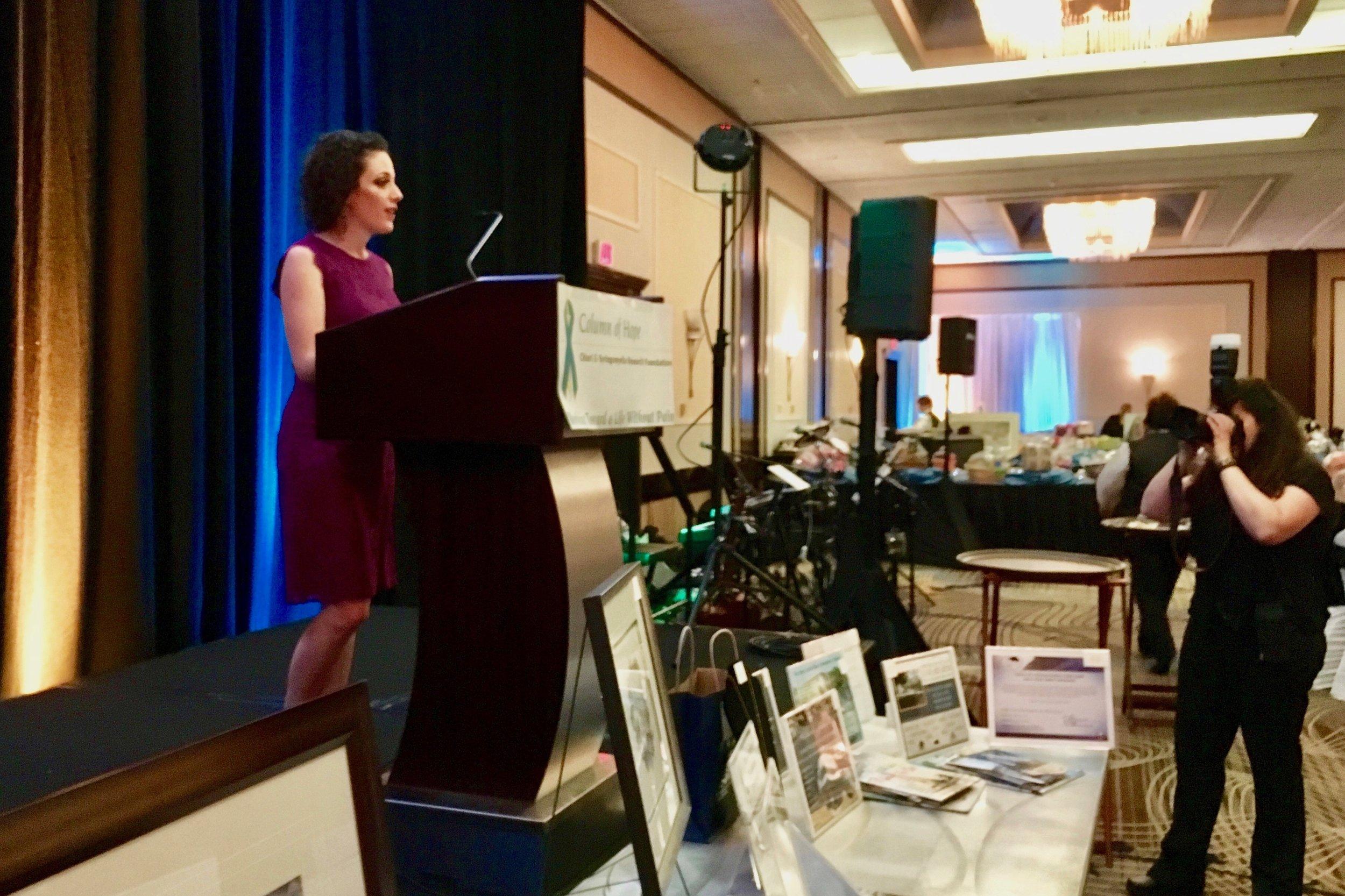 Laura Kane-Punyon introducing her father Mark Kane at the Column of Hope Chairi Gala