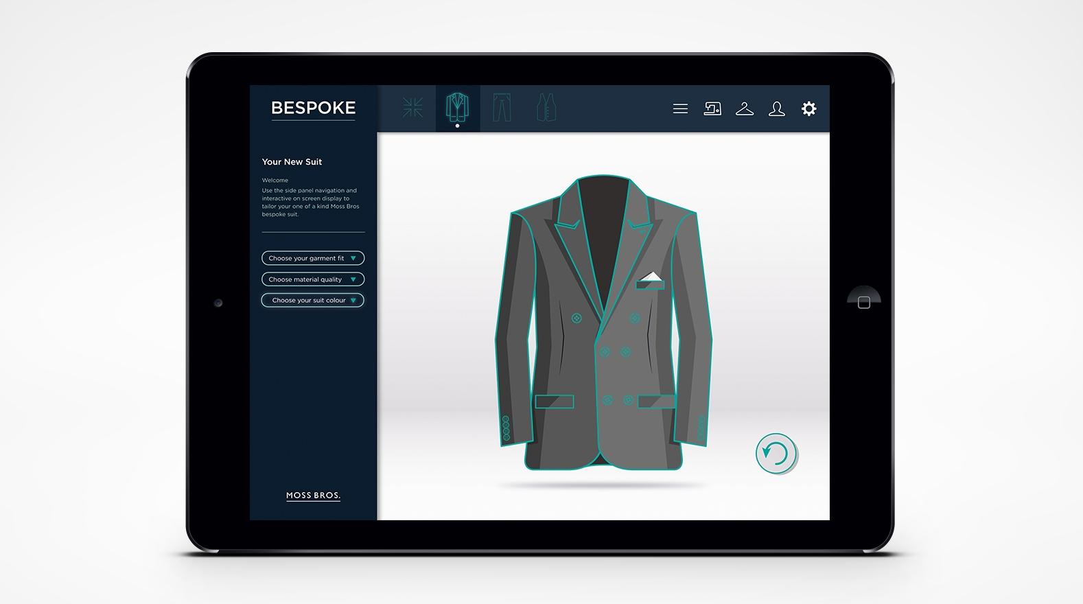 Bespoke suit creator App (visual, Ux, UI)