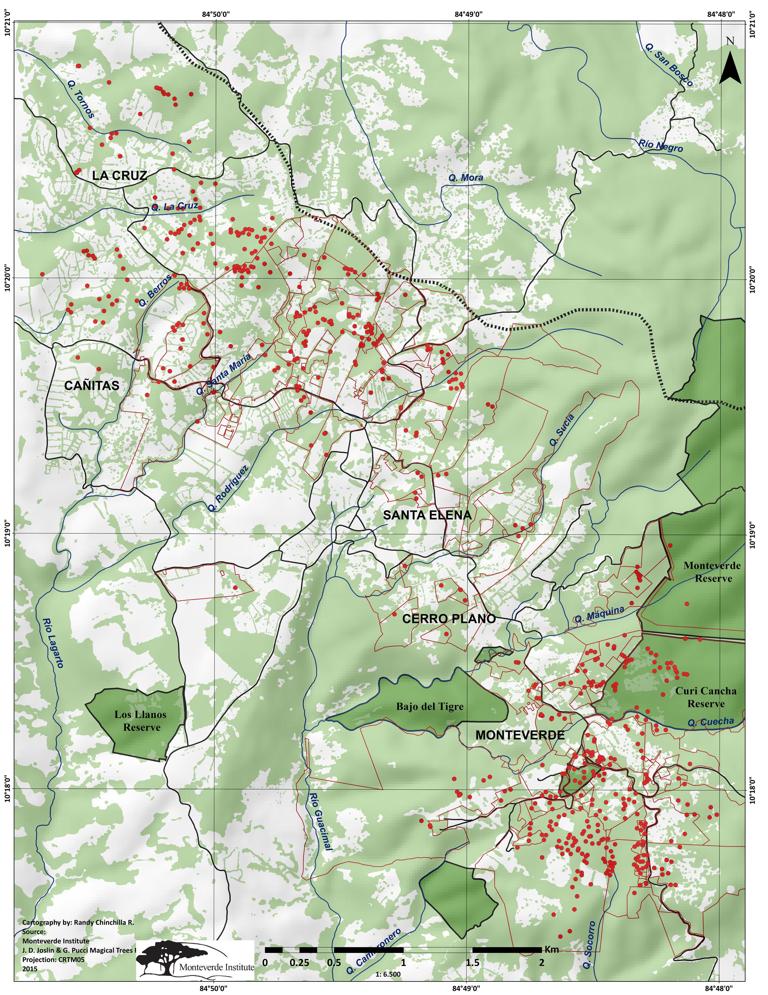 Los puntos rojos son los árboles de  O.m . y las líneas son las divisiones de las propiedades. (Pulse sobre la imagen para agrandar).