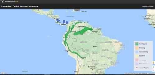 Fig. 1. Distribución del Guácharo ( Steatornis caripensis ). Tomado de:  http://neotropical.birds.cornell.edu/portal/species/distribution?p_p_spp=223931