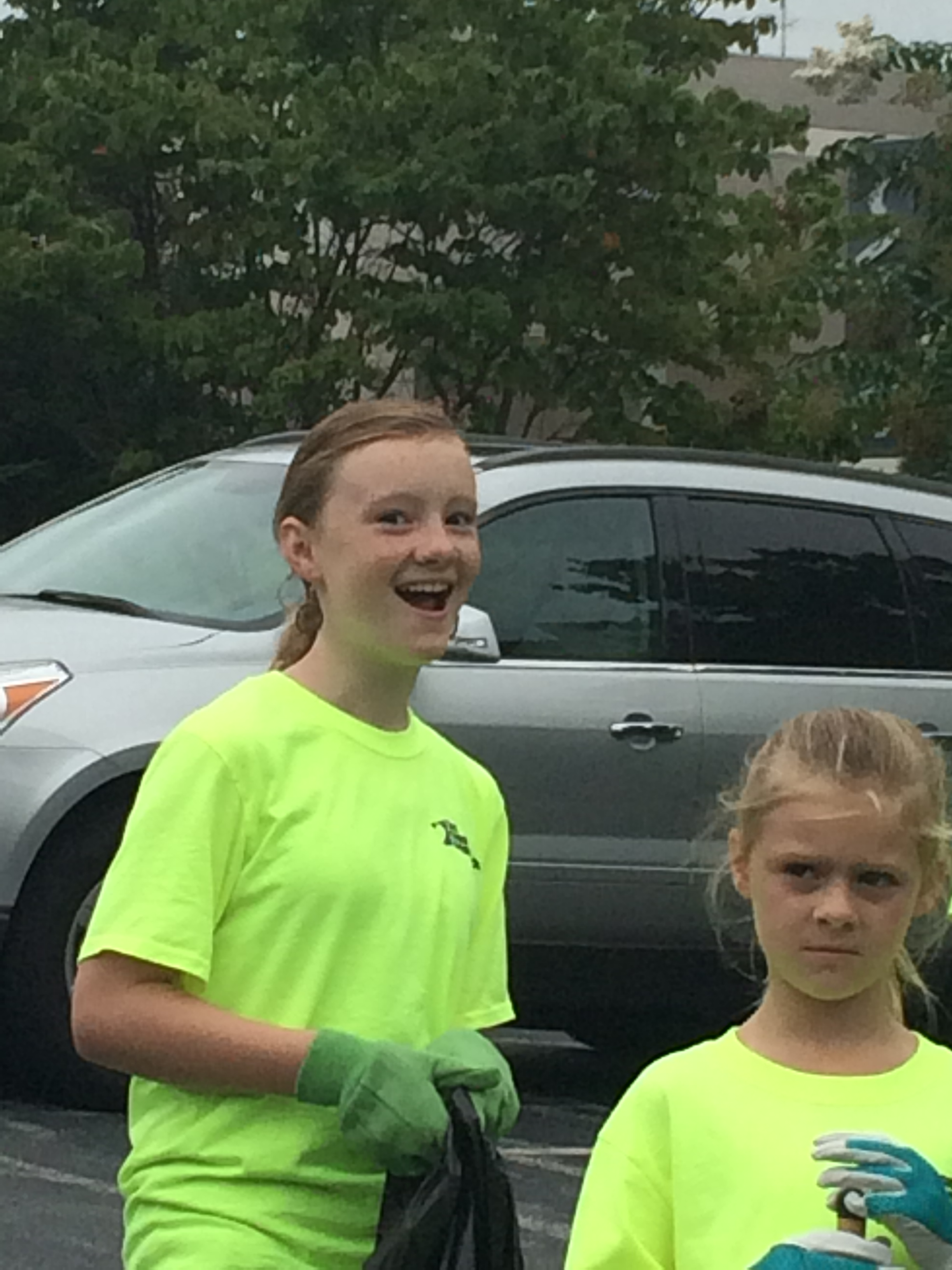 Morgan & Megan Cardille had differing reactions to picking up trash on a Saturday morning.