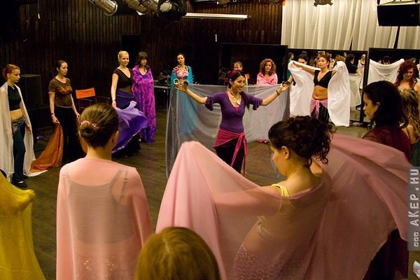 Teaching a veil workshop in Budapest, Hungary 2010