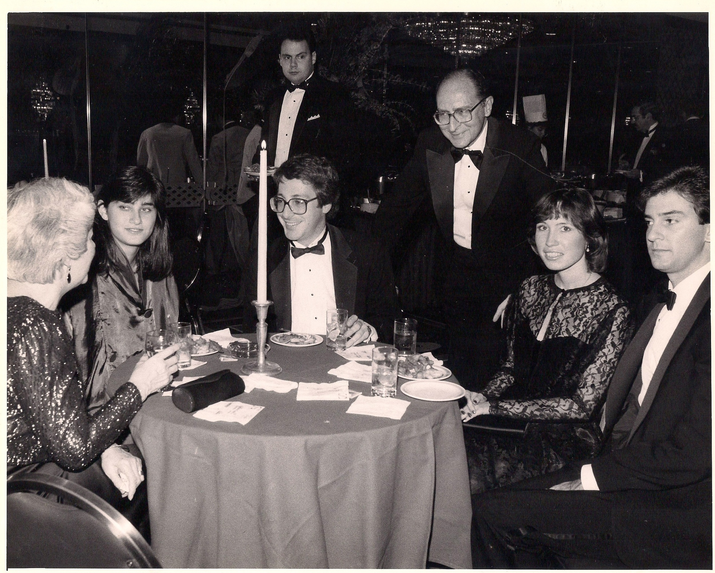 Richard, during his Executive Director days of the International Council of NATAS, with the head writer of the broadcast, chatting with his mom.