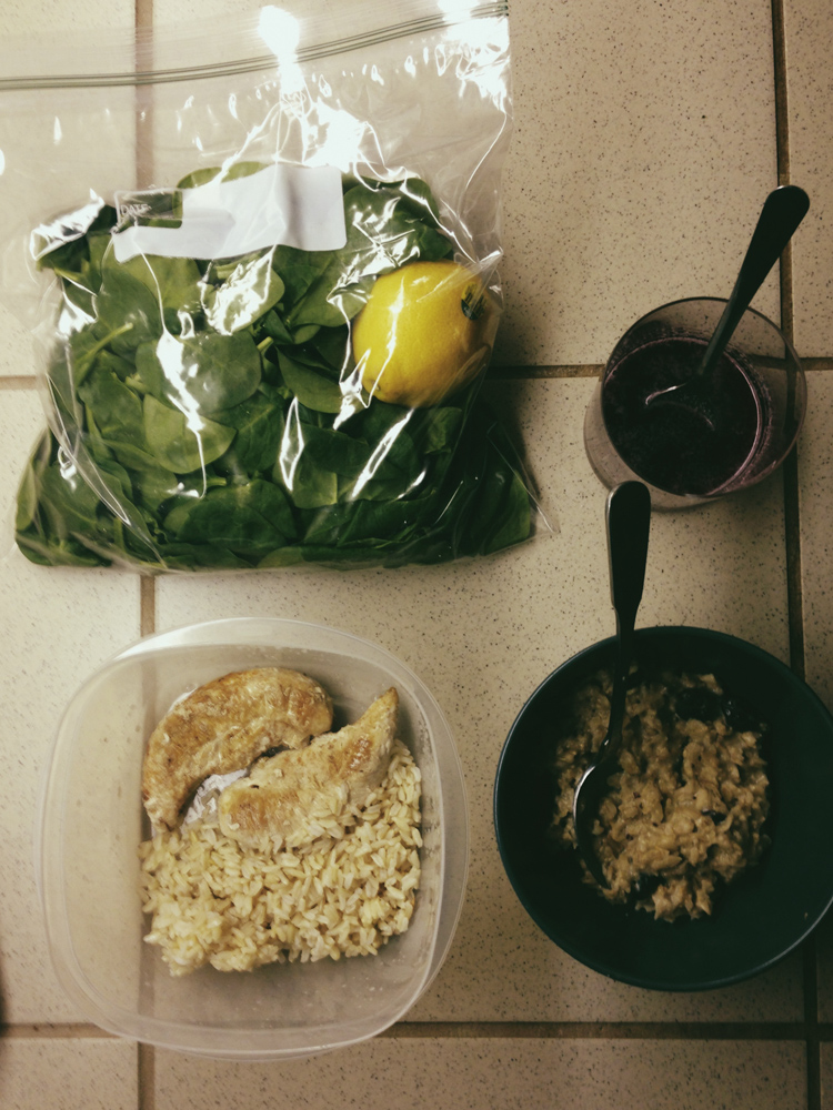 Oatmeal, brown rice, chicken, spinach, & pom juice -- my daily bread