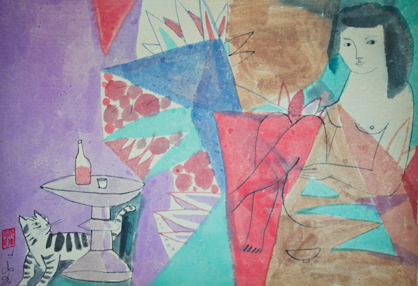 The Lady and The Cat,  50 x 70 cm