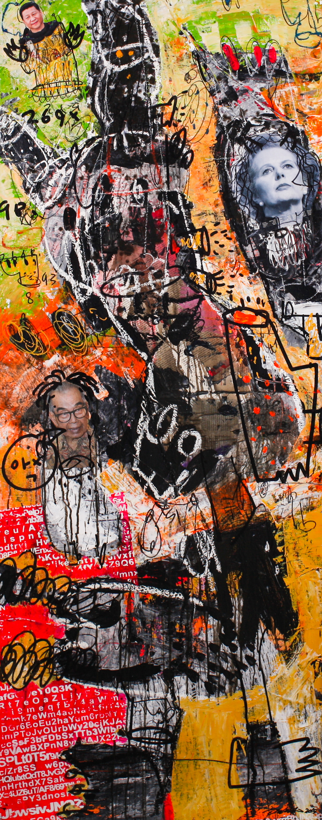 Dedy SUFRIADI,  Peoples #1 , 2015, Mixed media on canvas, 150 x 60 cm