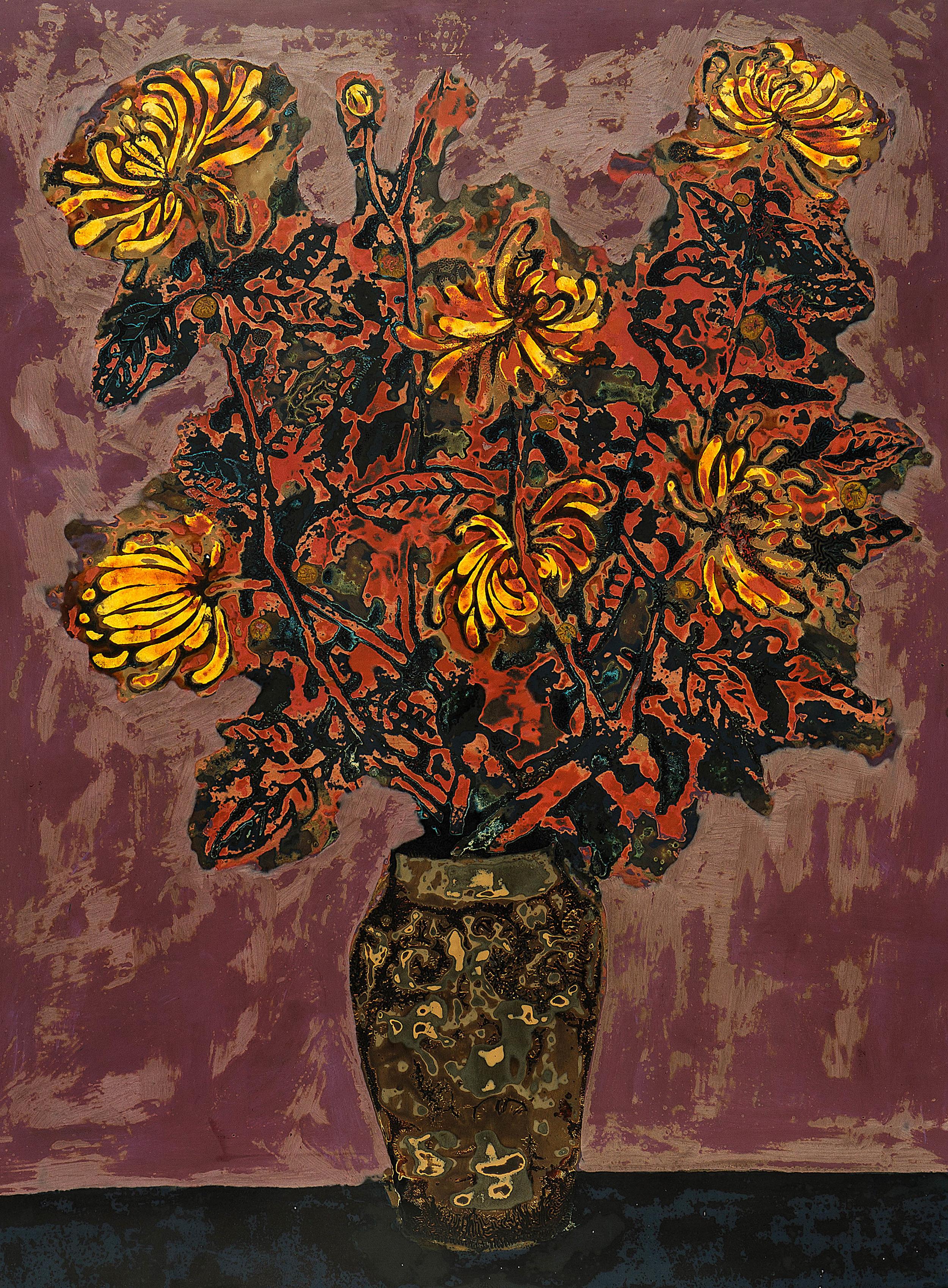 Chrysanthemum , 2016, Lacquer on wood panel, 80 x 60 cm