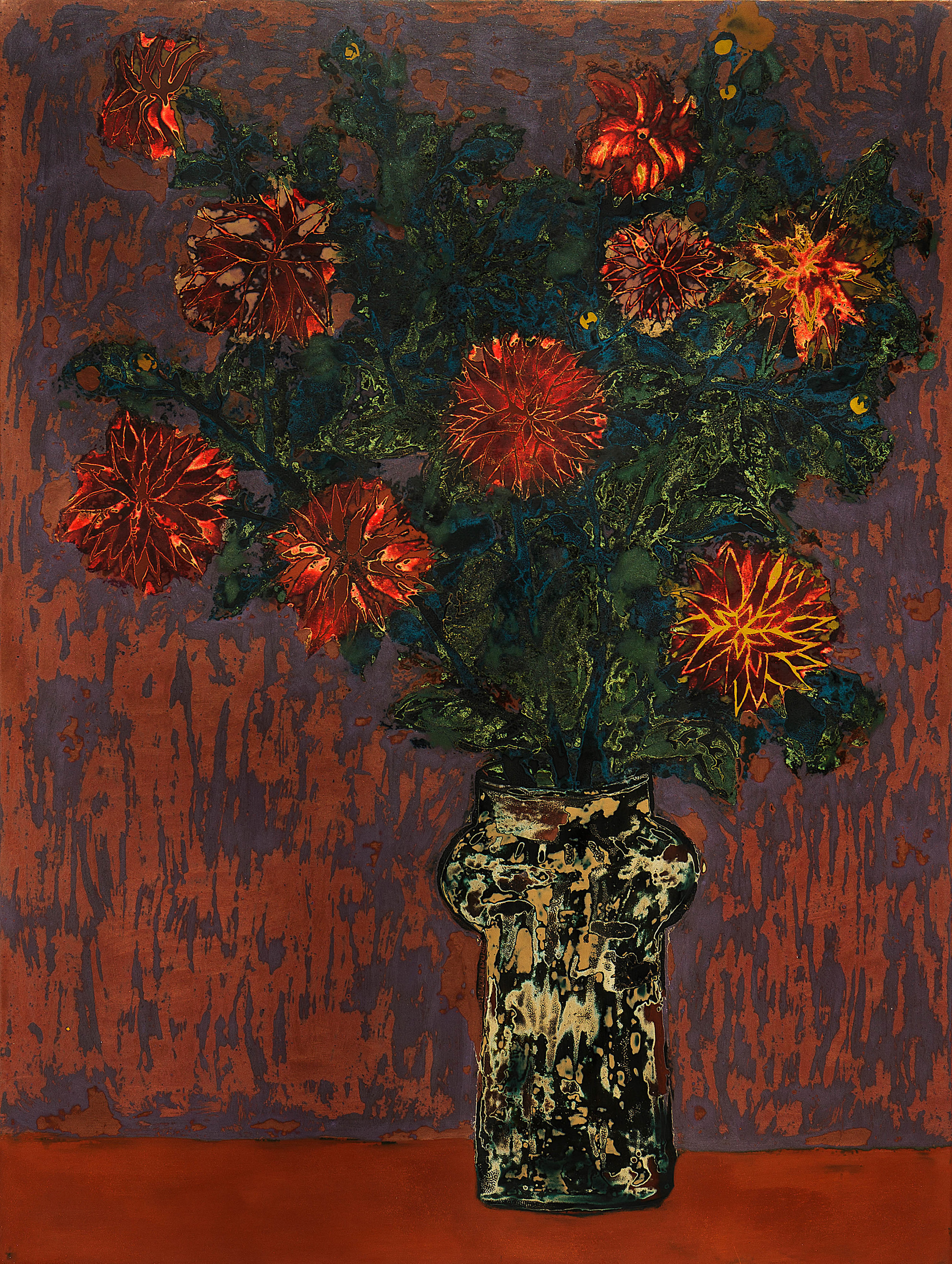 Dahlias on Red Table , 2016, Lacquer on wood panel, 80 x 60 cm