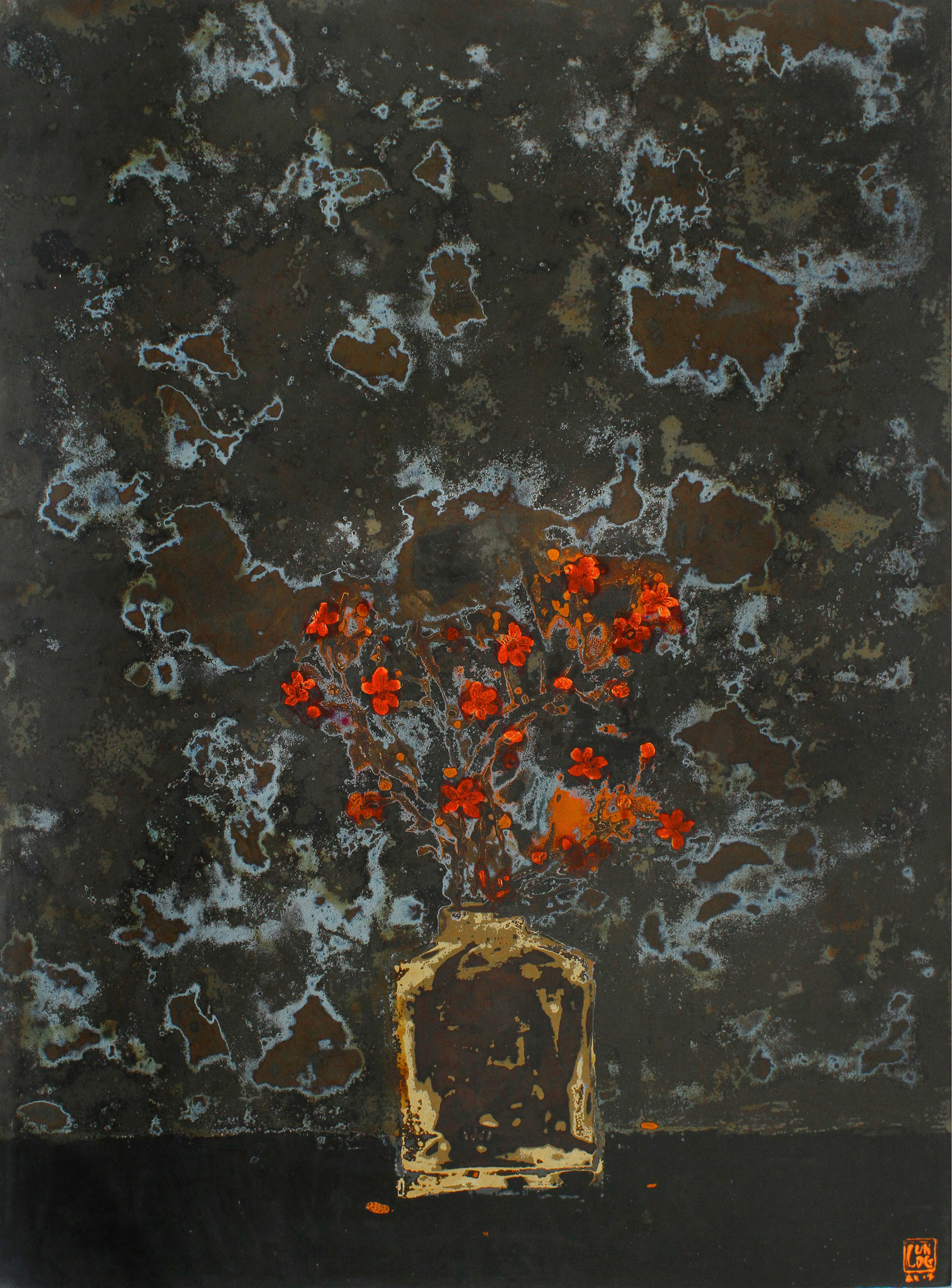 Prunus in the Night , 2015, Lacquer on wood panel, 80 x 60 cm