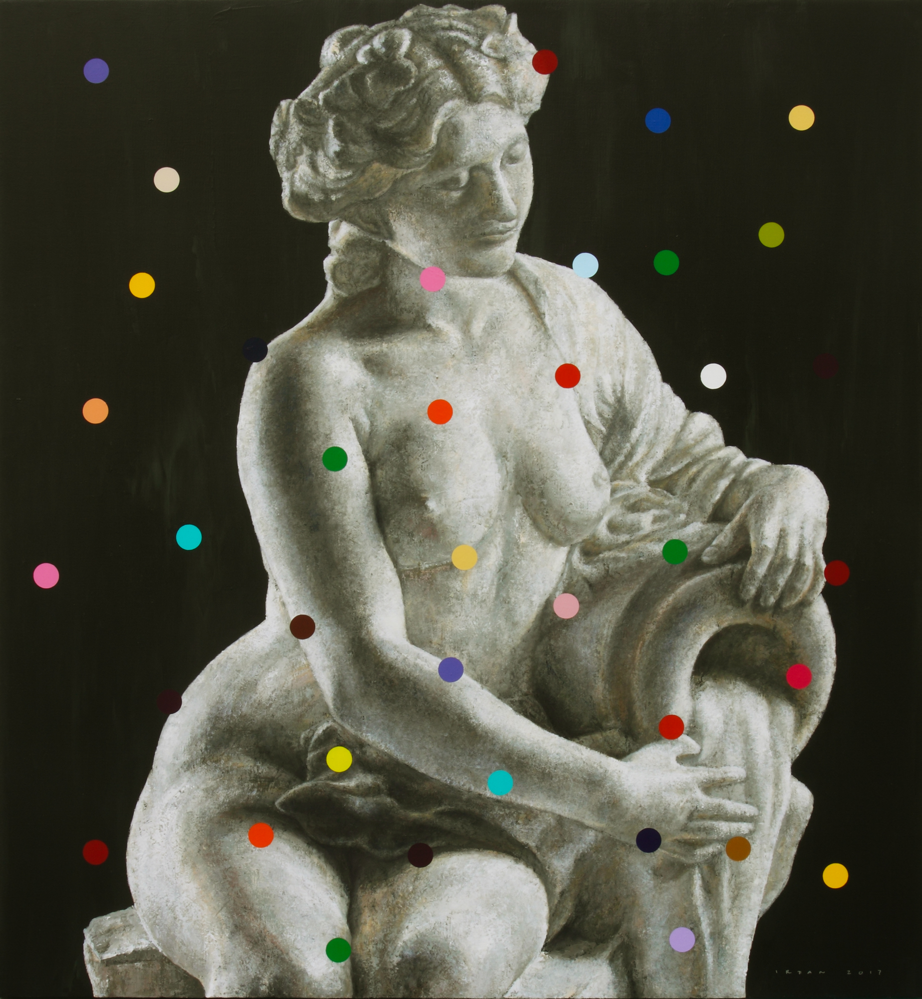 #21 Seated Nude with Urn , 2017, Acrylic on Canvas, 120 x 110 cm