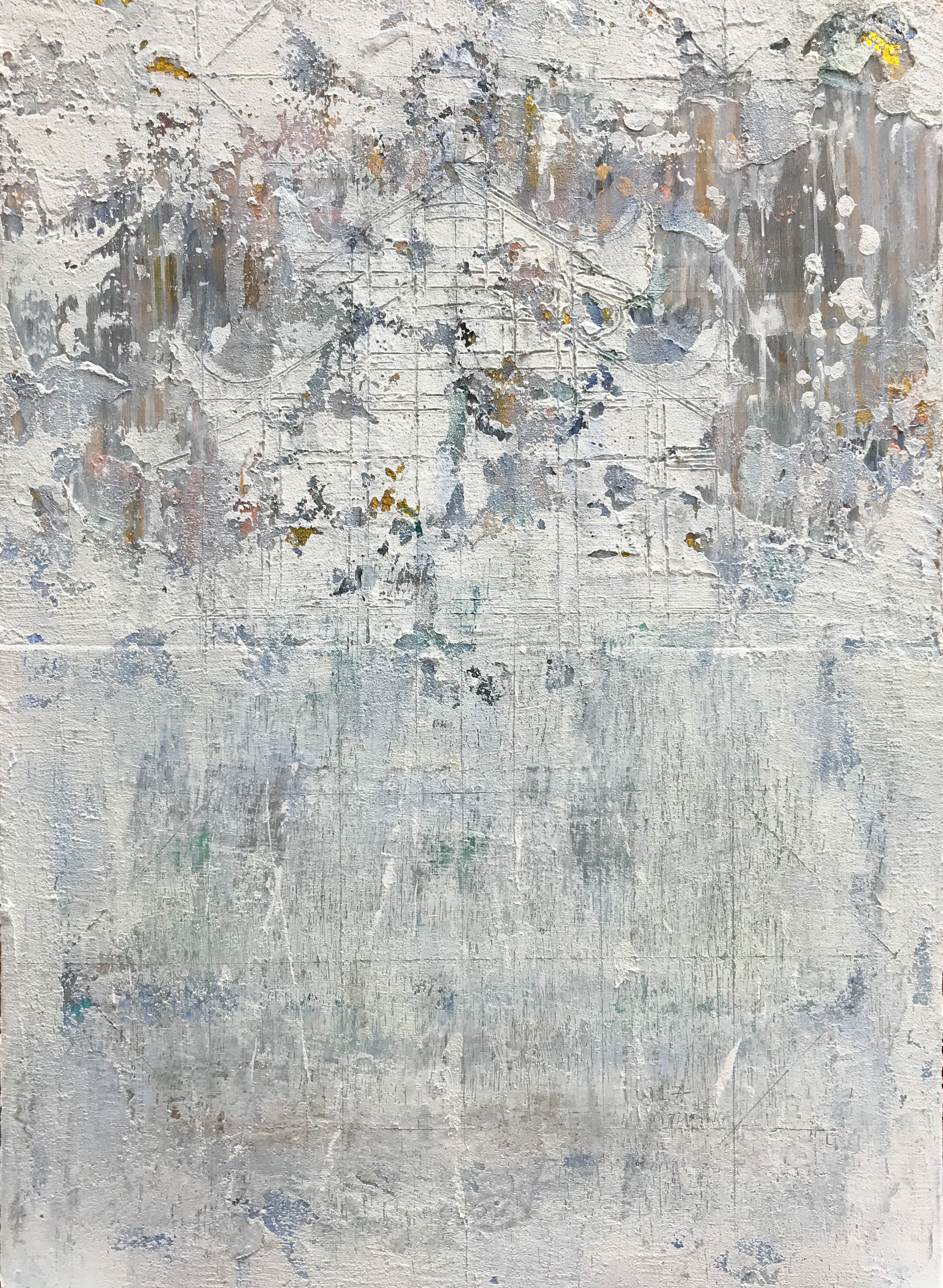 Early Winter Morning #1, 2017, Oil and Acrylic on Silk and Canvas, 97 x 70 cm, HA Manh Thang