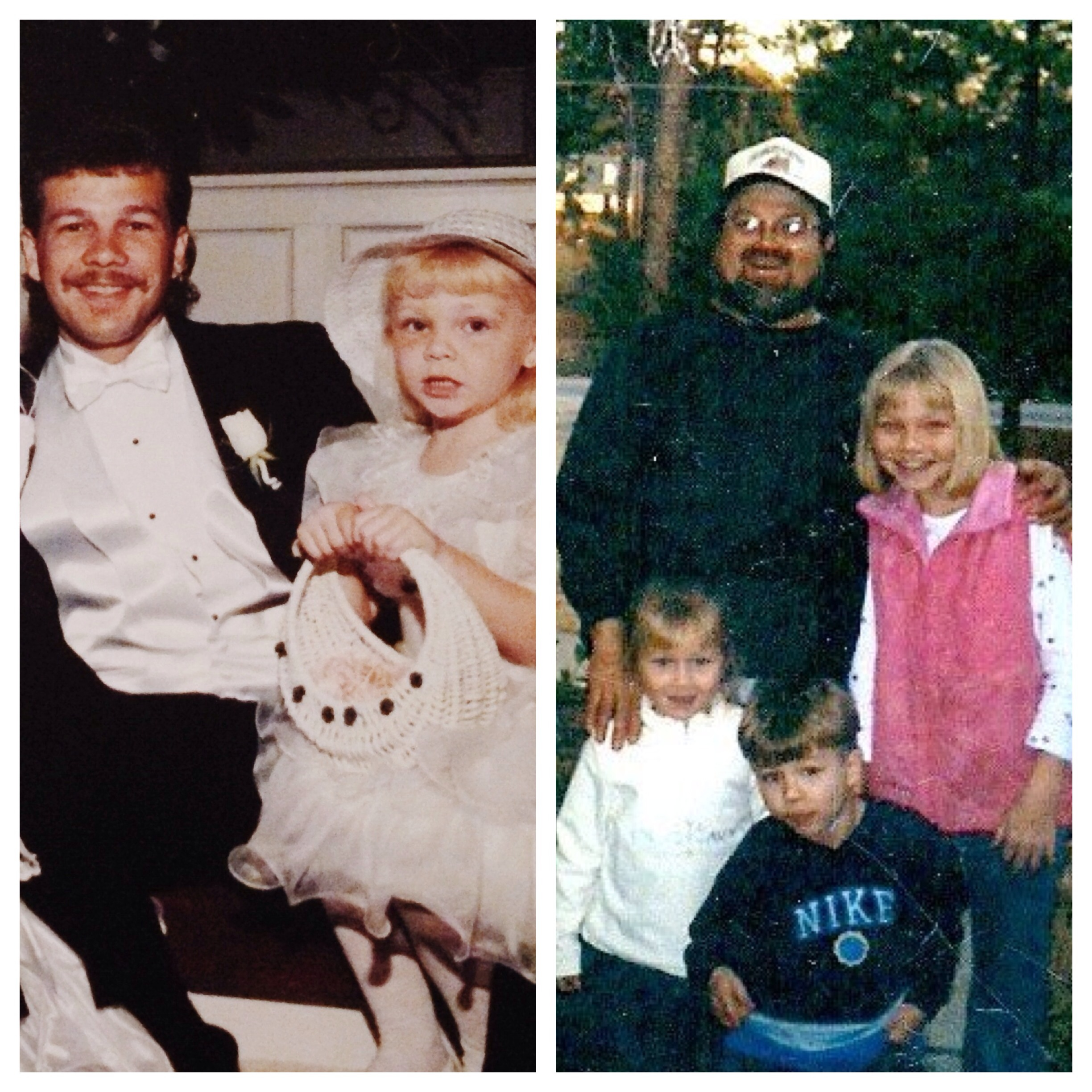 left- Uncle James and me on his wedding day in 1995.   right- Uncle Jimmy, me, Taylor & Hunter on a day circa 2000 when Uncle Jimmy came over to see us and use the last few shots on his roll of film on us.