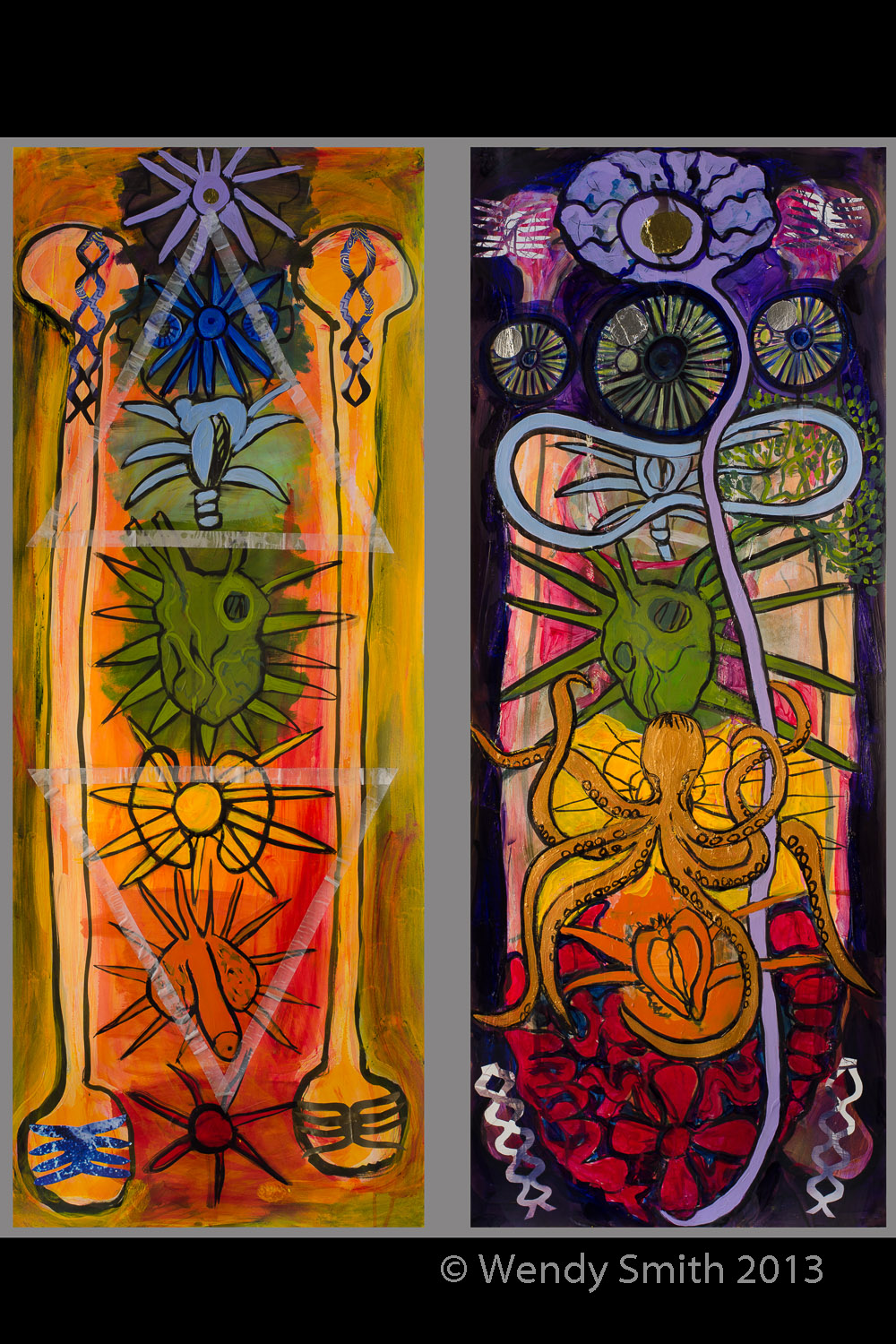 "All the Chakras - Male & Female - Diptych 40""x50"" Acrylic, graphite, ink, collage, metallic paint"