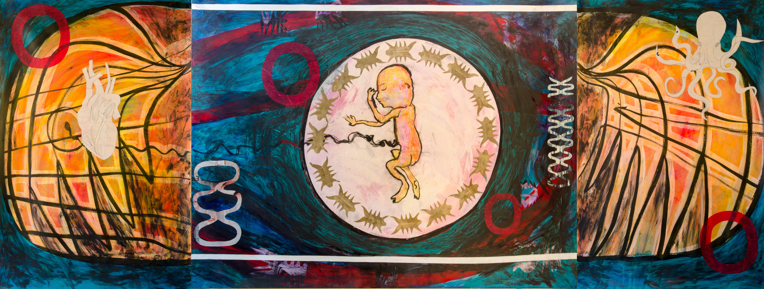 "Fetus, Heart, Octopus - Triptych - 38"" x 50"" Paint, ink, collage"