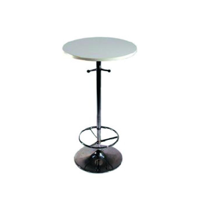 Ståbord, runt, vitt Längd: 60 cm Bredd: 60 cm Höjd: 110 cm Pris: 450 kr