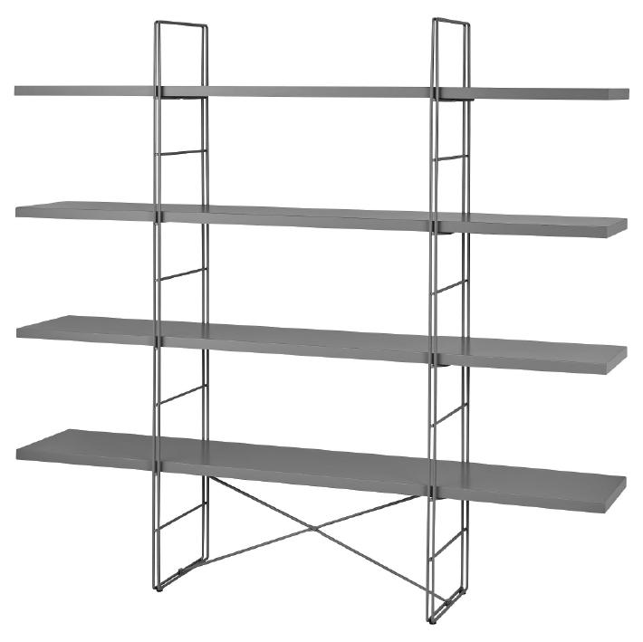 Displayhylla, grå eller vit B170cm, D33cm, H158cm 550:-