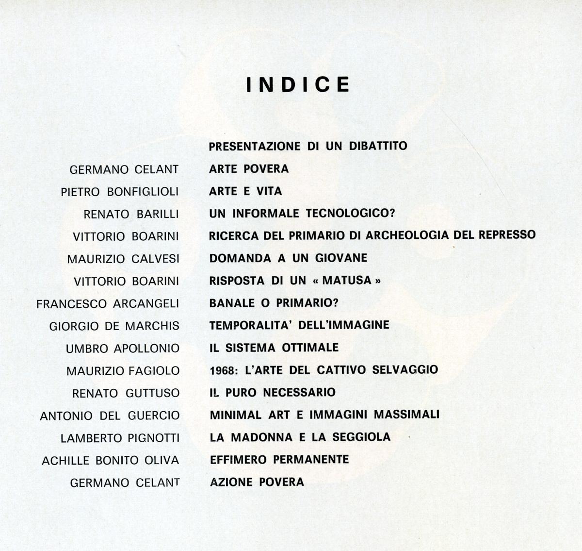 Quaderno arte povera 1968 - Galleria de foscherari indice.jpg