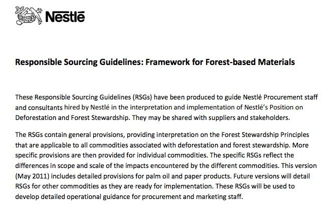 Nestle'sResponsible Sourcing Guidelines: Framework for Forest-based Materials (Downloaded 29.12.12)