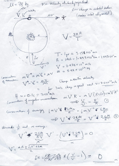 Equation to calculate what effect the removal of my mass would have on the orbit, 1998