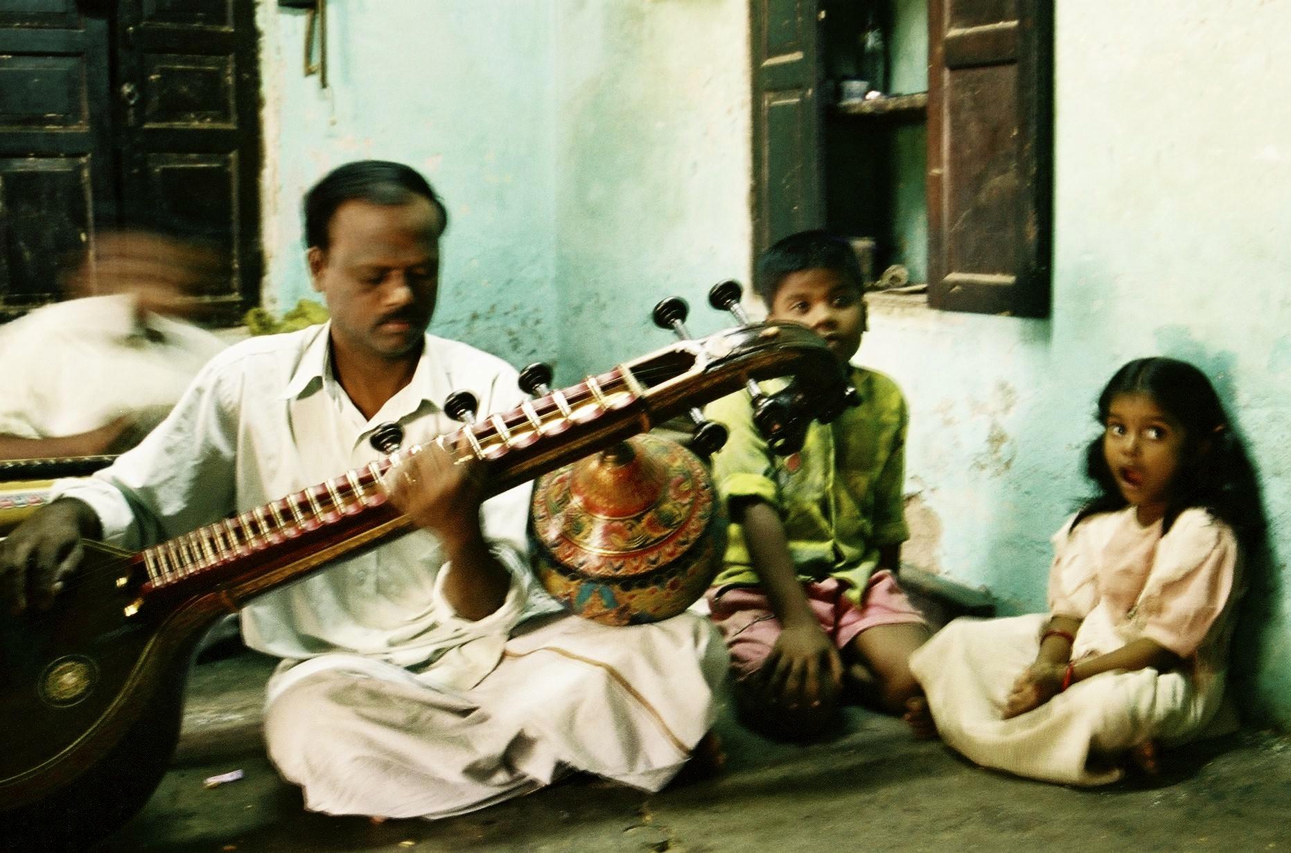 Veena maker at his place, Thanjavur, 2003