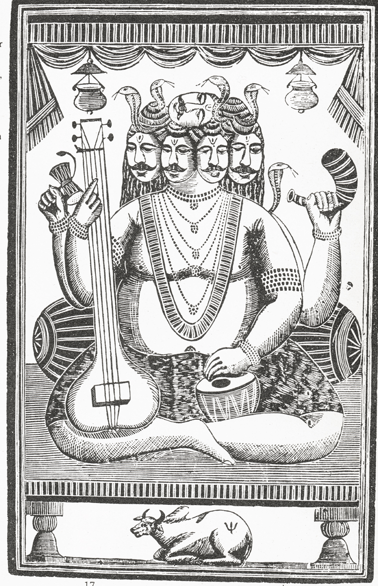 Mahadeva:Shiva…incarnation as a one man band. Woodblock print from Calcutta, 19th Century.jpg