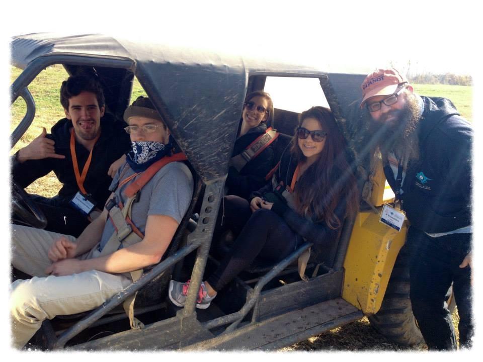 Jessie Allegra  (OC'12) and Daniel Schneider-Weiler (OC'13) and friends Jeeping