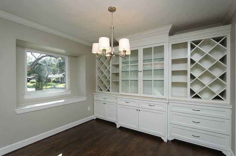 After built-ins in the dining room.