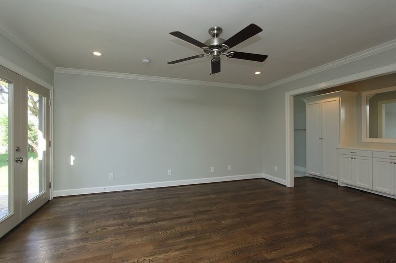 Master bedroom. Ceiling fans are an evil must have in Houston.
