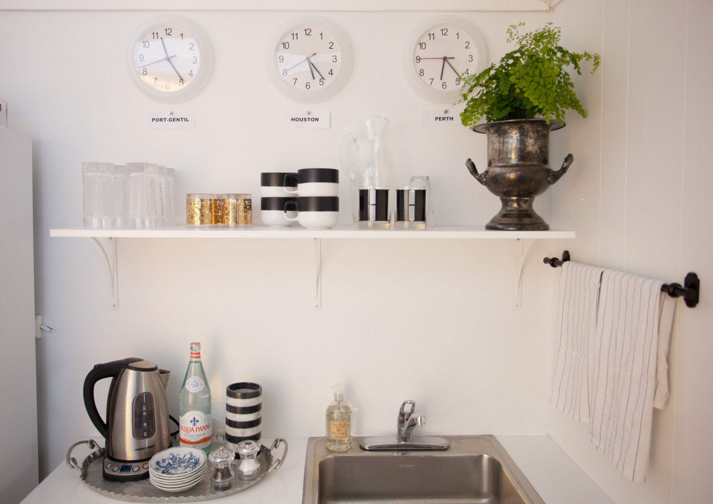 Kitchenette of Houston interior design office of Jamie House Design