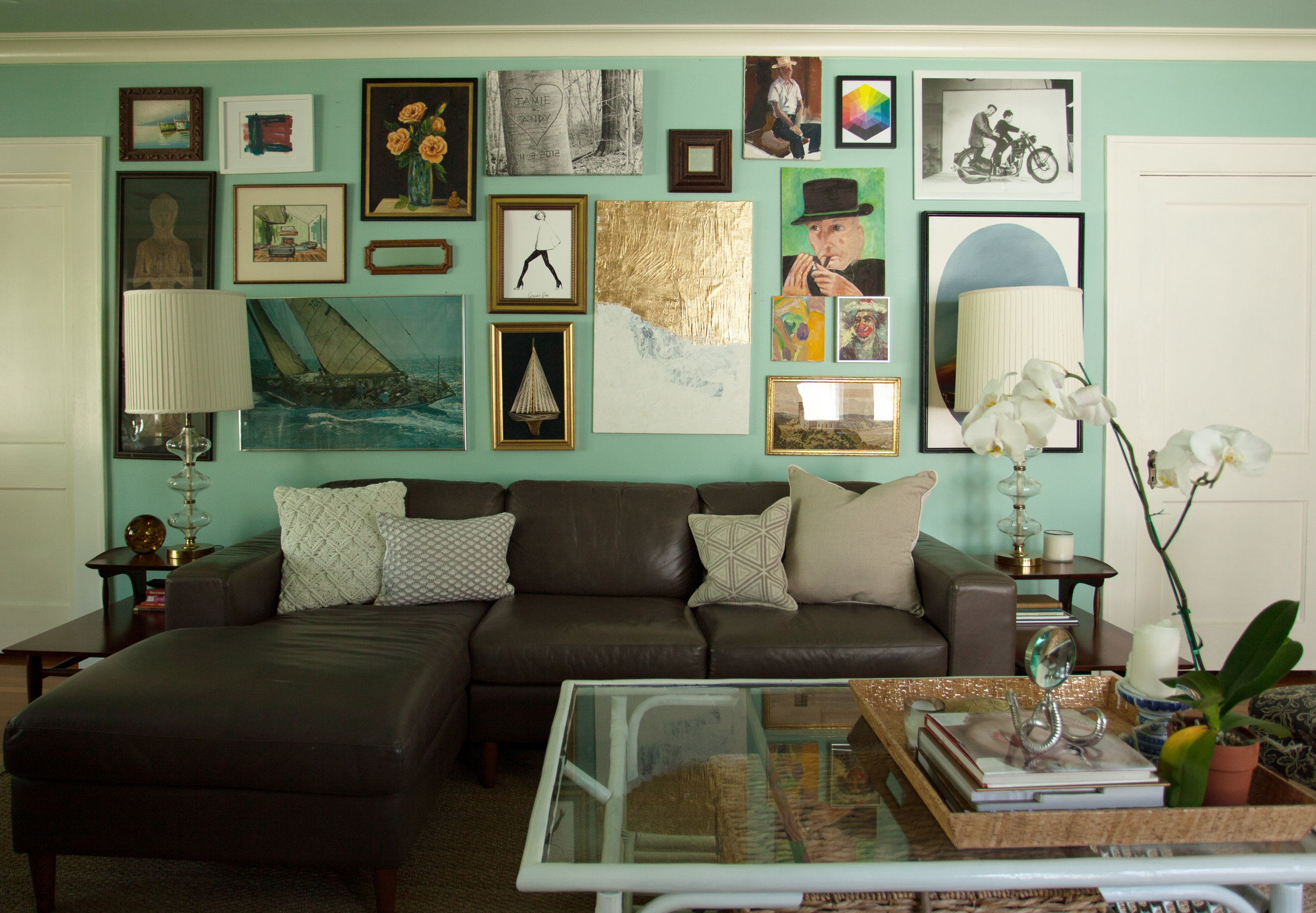 Gallery wall Salon wall by Jamie House Design. Living room in Houston Heights.