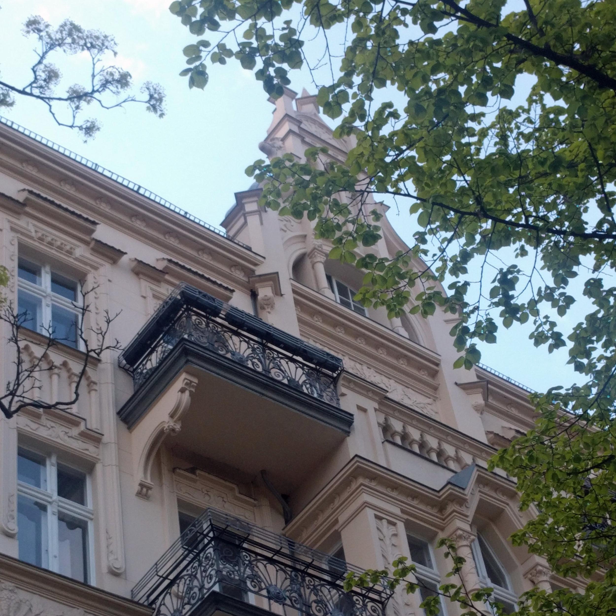 Spring in Berlin Germany. Altbau apartment building. European architecture design.