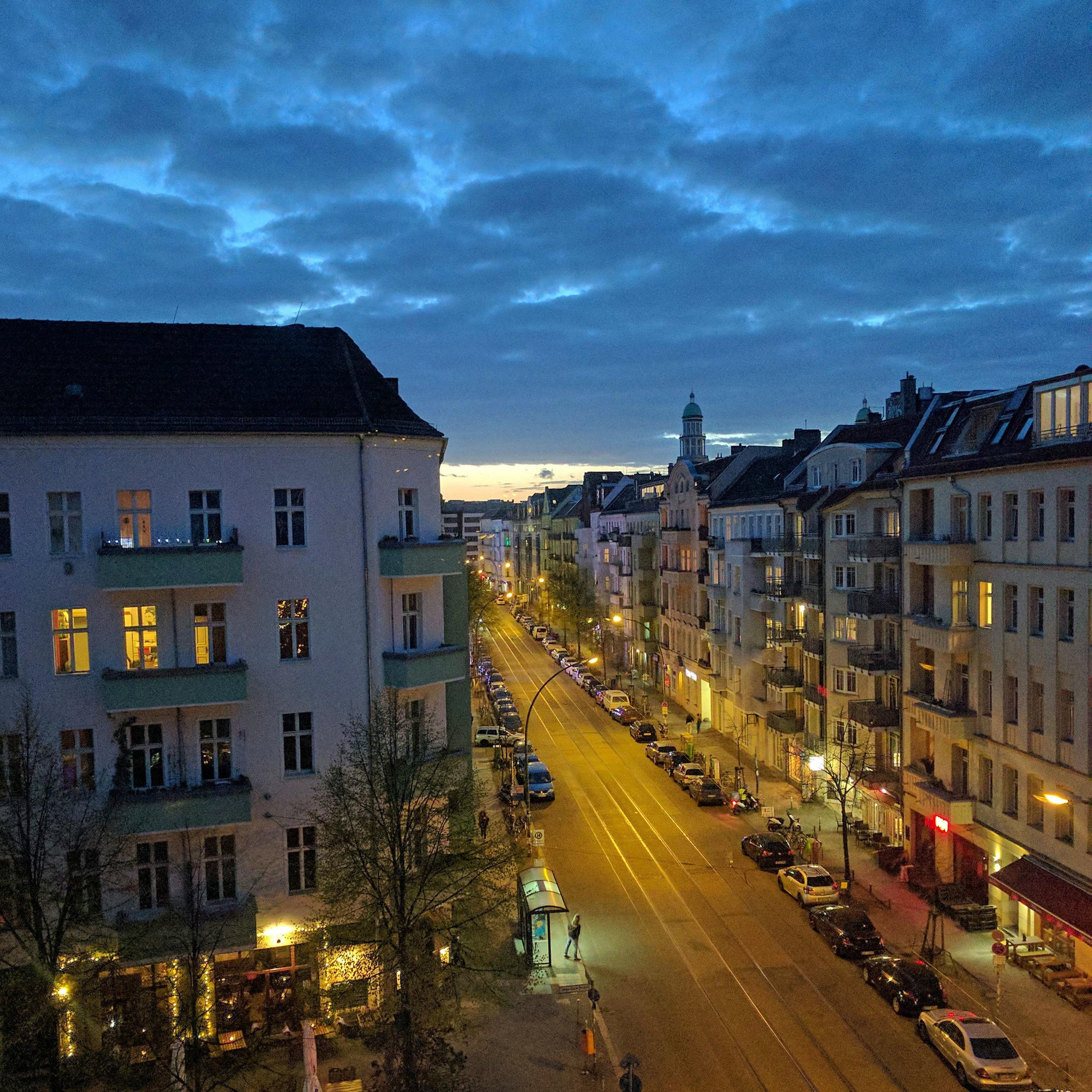 Friedrichshain Berlin Germany streetview in the evening. Winter in Berlin.