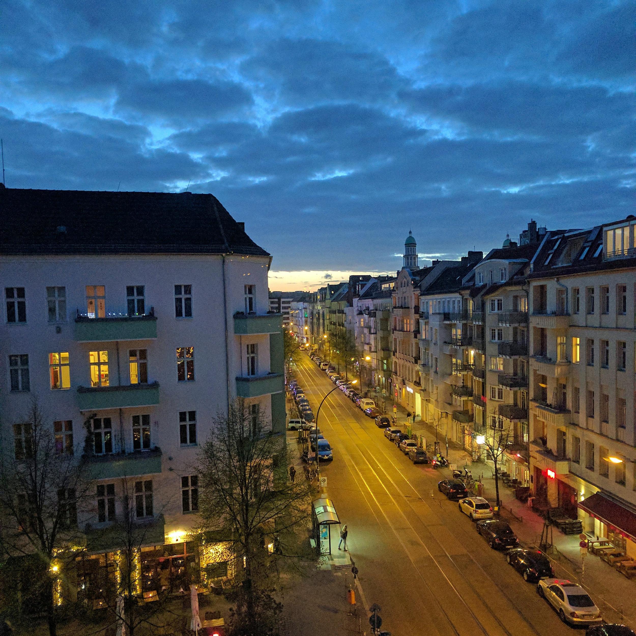Evening street view of Friedrichshain. One Year in Berlin. First year in Berlin. Jamie House Design