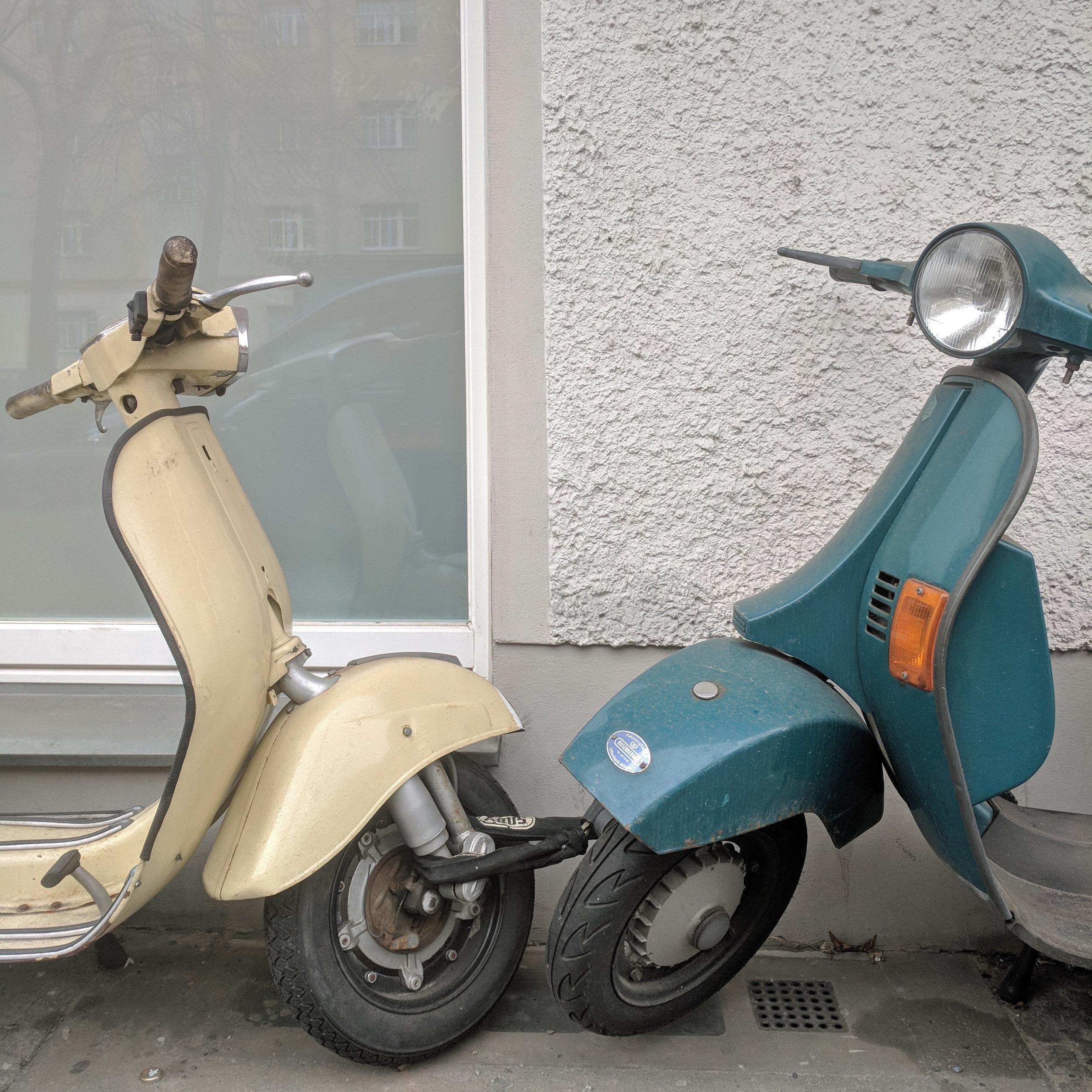Berlin kissing scooters.Berlin interior designer Jamie House Design.