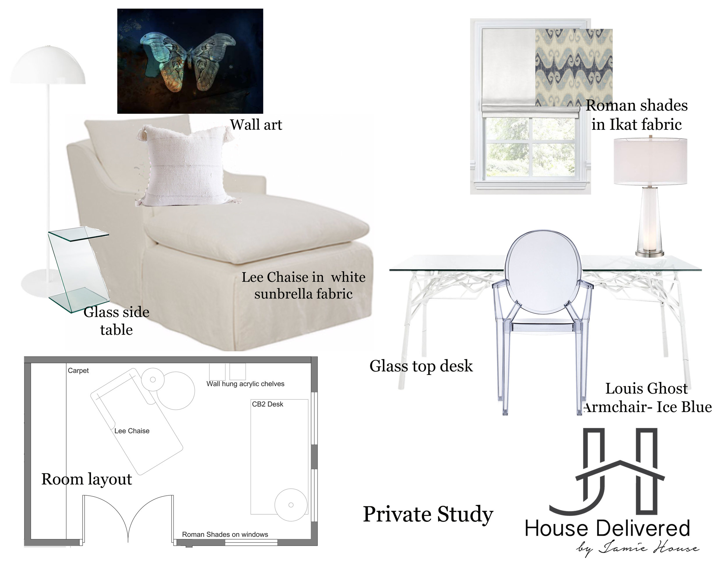 Feminine study design moodboard by House Delivered, Jamie House Design's EDesign service