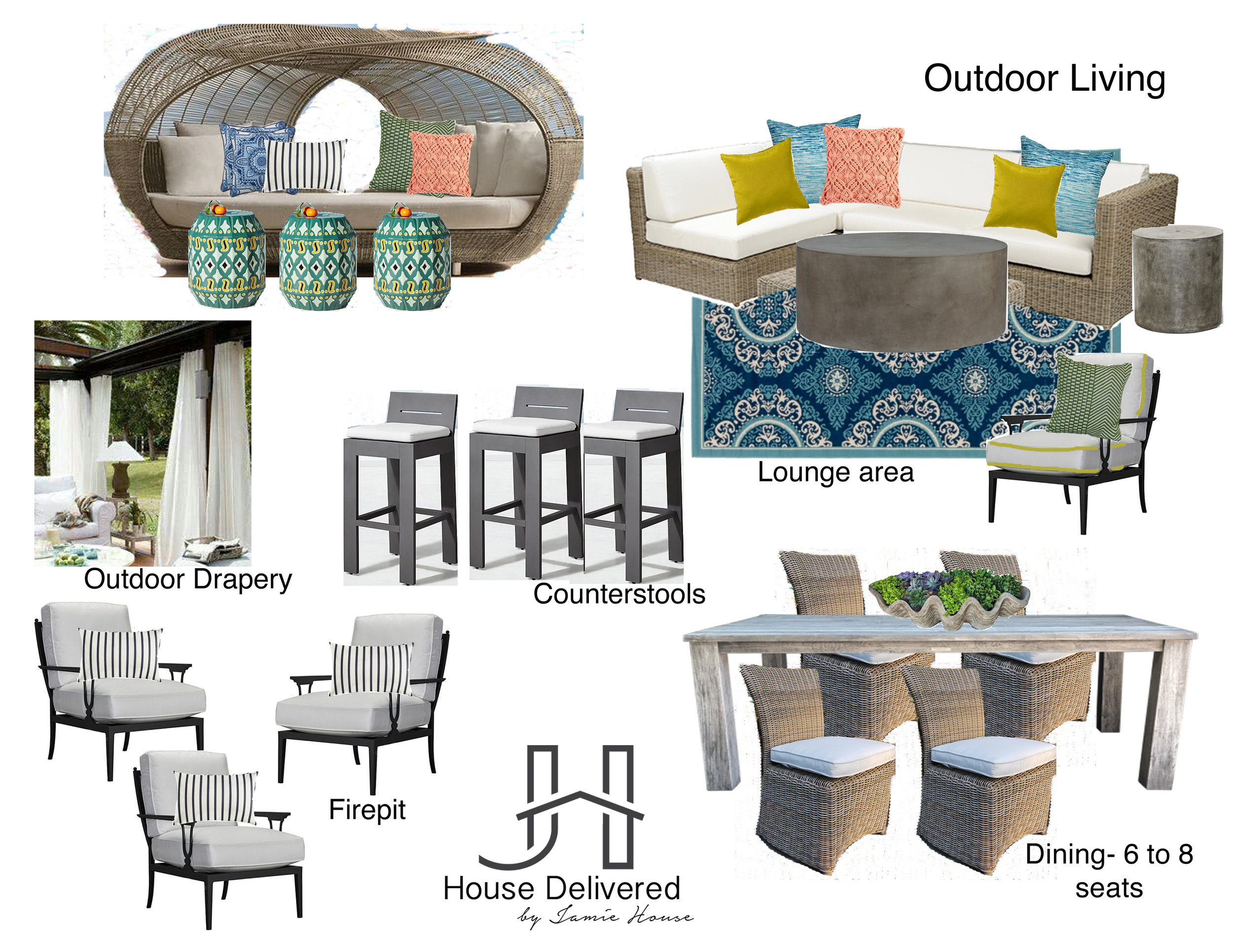 Outdoor pool area mood board by House Delivered, Jamie House Design's EDesign service