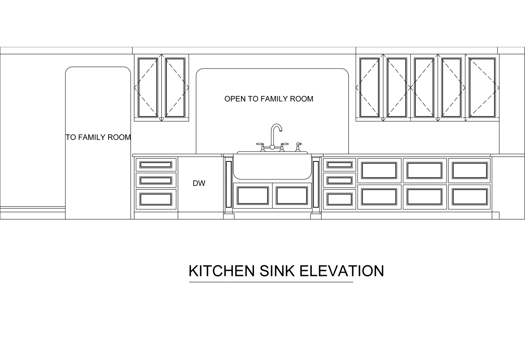 Kitchen sink wall elevation for kitchen remodel by Jamie House Design