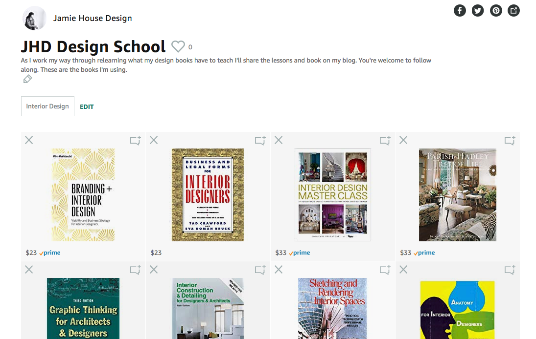 Jamie House Design's books to review for JHD Design School