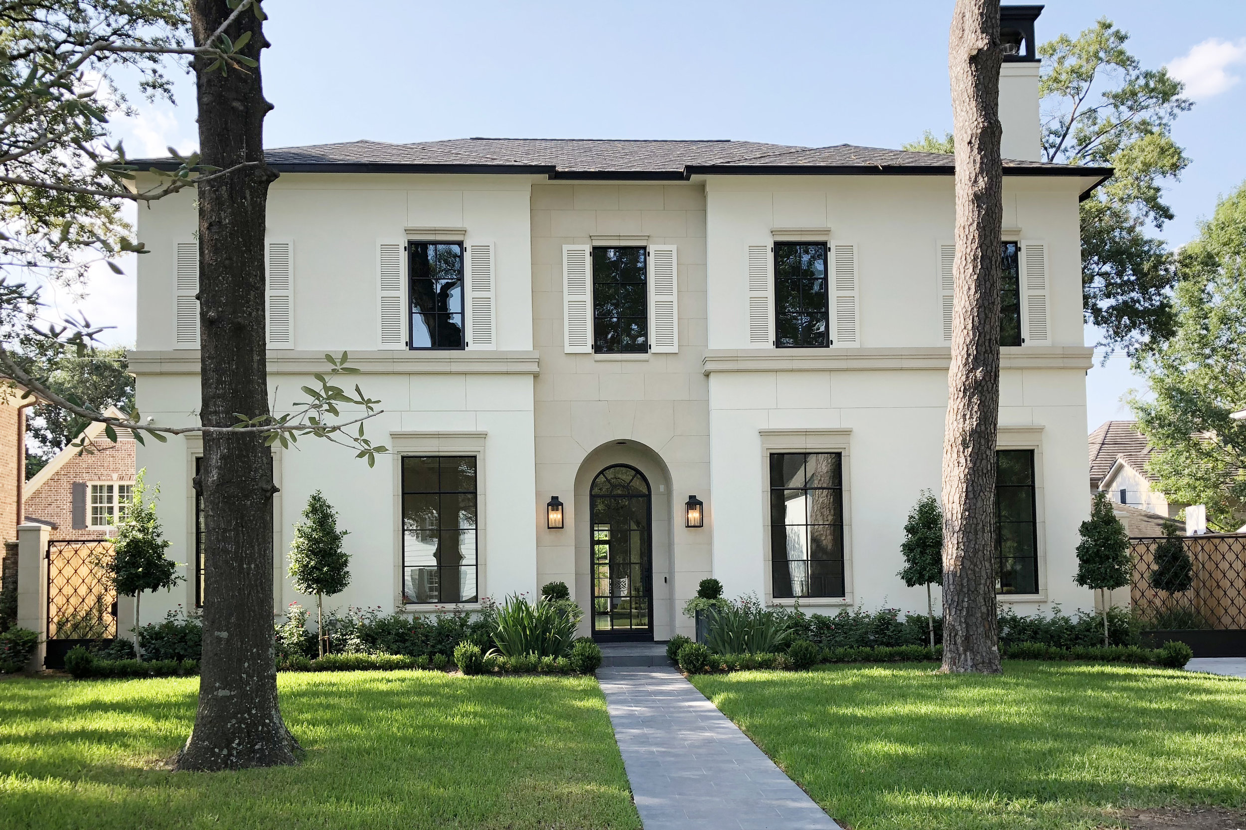 Exterior of home in River Oaks Houston Texas designed by Berlin based interior designer Jamie House